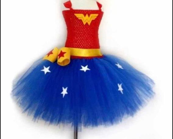 Vestido Tutu Dress Mujer Maravilla Tallas 1 A 6
