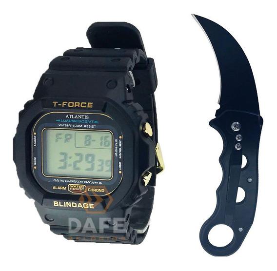 Kit Militar Relógio E Canivete Preto C/ Caixa E Nf