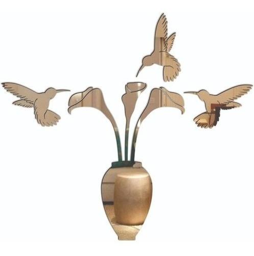 Espelho Decorativo Acrílico Enfeite Vaso De Flor 66 X 60cm
