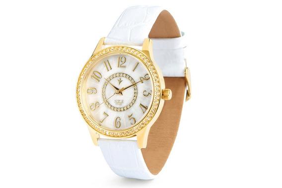 Reloj Para Mujer Con 4 Baños De Oro De 18k Y Piedra Cristal