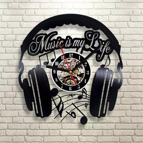 Música Músico Fone Ouvido Relógio Parede