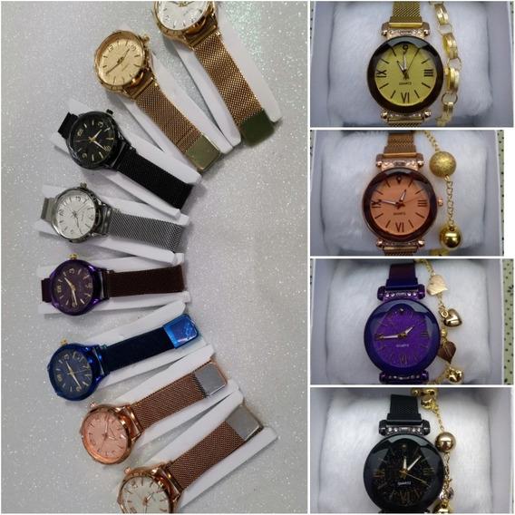 Kit 10 Relógio Feminino Fecho Imã +caixa E Pulseiras -barato