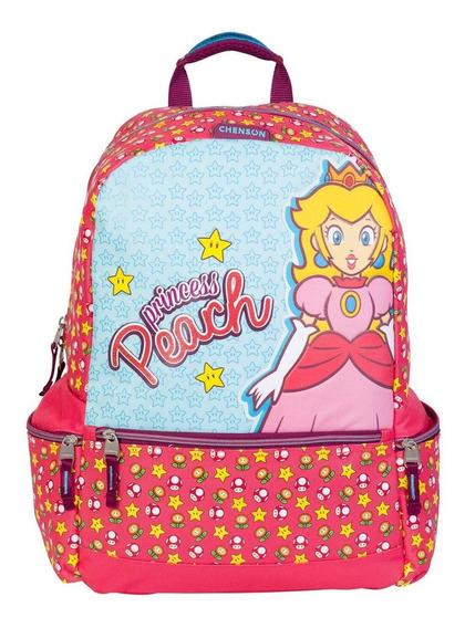 Mochila Escolar Grande Chenson Peach Mario Bros Mb63152