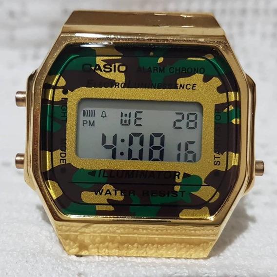 Relógio Unissex Casio Retrô Dourado Militar Frete Grátis Top