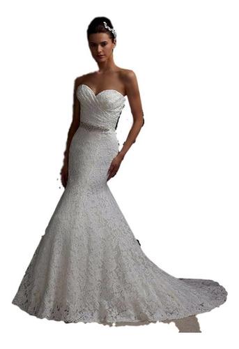 Vestido De Novia Sirena Nuevo Blanco Y Marfil