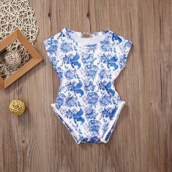 Romper Azul E Branco Pompom Menina Bebê Infantil Body