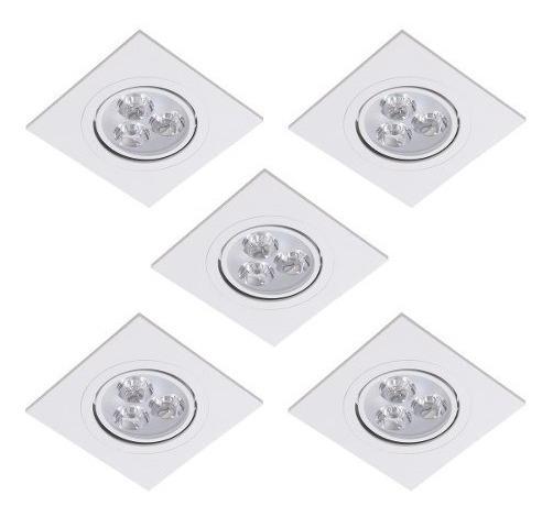 Kit 5 Spot Super Led Quadrado Embutir Dicroica Sanca 3w