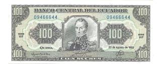 Billete De Ecuador 100 Sucres Año 1993 Wf Papel Moneda Unc