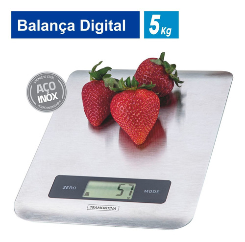 Imagem 1 de 10 de Balança Digital Cozinha Tramontina Adatto Em Aço Inox 5kg
