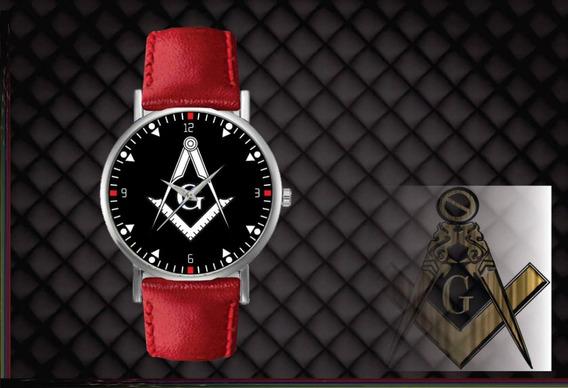 Kit 4 Relógios De Pulso Personalizados Maçonaria Maçon Couro