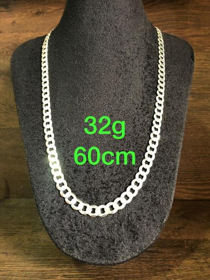 Colar De Prata Italiana 925 Modelo Groumet 32g 60cm