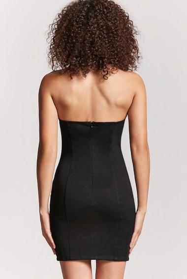 Vestido Negro Moldea Silueta Forever 21 Original Svoz Moda