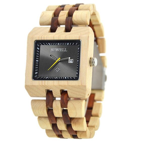 Relógio Madeira Bewell Original Quadrado Bege E Marrom