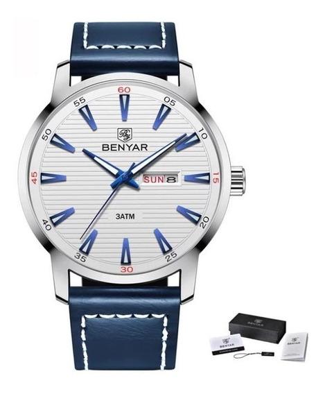 Relógio Masculino De Luxo Benyar Pulseira Couro Azul