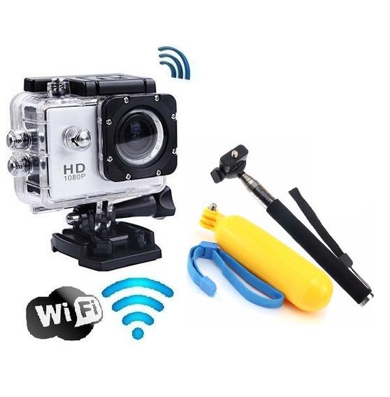 Câmera Sport Cam Filmadora Prova Dágua Wifi Hd Bastão E Boia