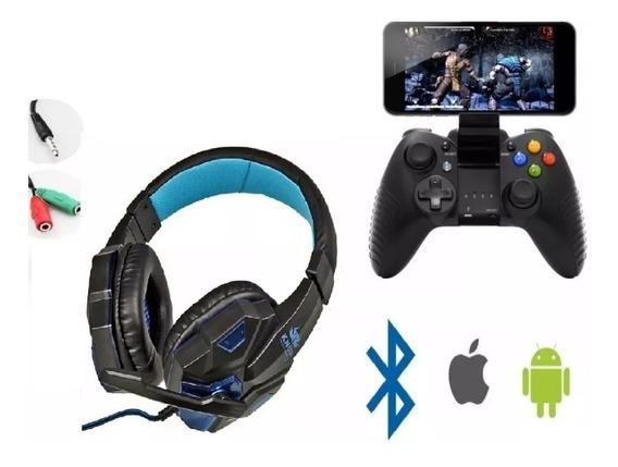 Kit Headset 7.1 Gamer + Controle Joystick Celular Bluetooth