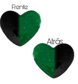 Coração De Pelúcia Preto E Verde 50 Cm