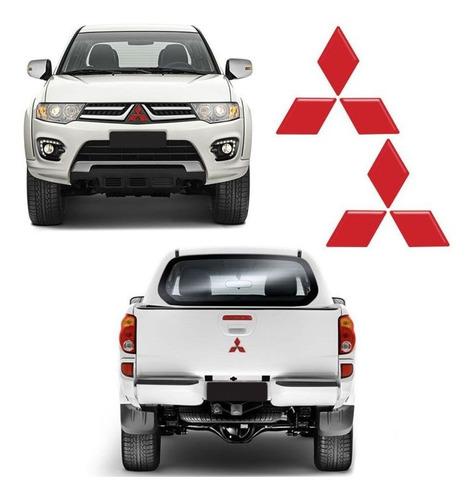 Imagem 1 de 4 de Par De Emblemas L200 Triton 2017 Logo Mitsubishi Refletivo