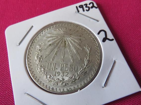 Un Peso Resplandor 1932 Plata Ley .720 Circulada