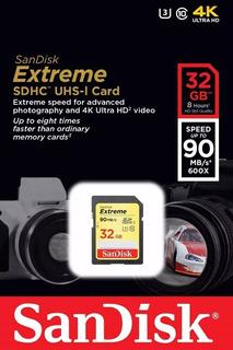 Cartão Sd Extreme 32gb Sandisk U3 4k Lacrado
