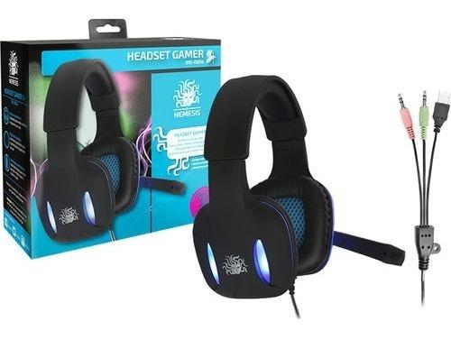 Fone Gamer Nemesis Headset Preto Com Luz De Led Azul Nm-2190