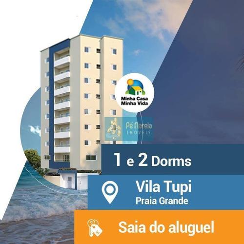 Imagem 1 de 21 de Apartamento Com 1 Dormitório À Venda, 40 M² Por R$ 195.000,00 - Tupi - Praia Grande/sp - Ap0172