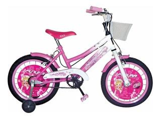 Bicicleta Rodado 16 C/canasto Bmx Twin Futura Nena - Rosario