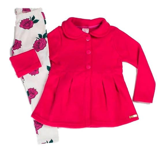 Conjunto Infantil Menina Casaco Buclê Floral Rosas By Gus
