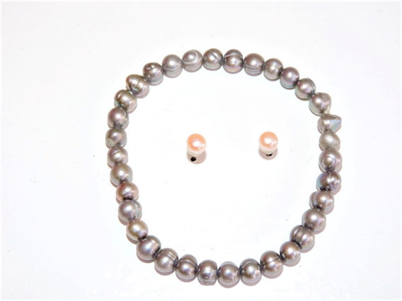 1 Pulsera Perlas Cultivadas Gris 4-5 Mm + Aretes