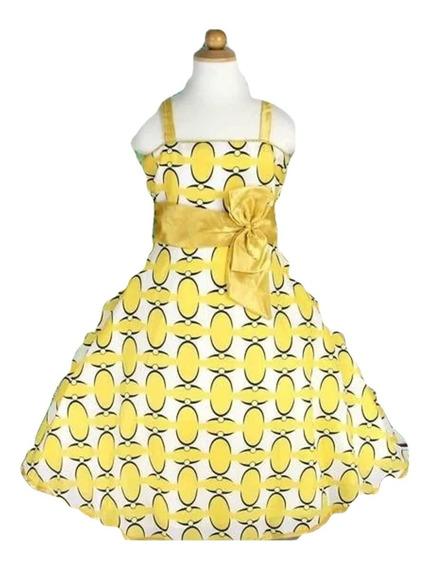 Vestido Infantil Festa Bolinha Amarelo / Azul Anos 50 Rodado