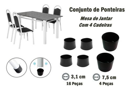 Kit Ponteira Protetora Pé De Mesa Tubular E Para 4 Cadeiras