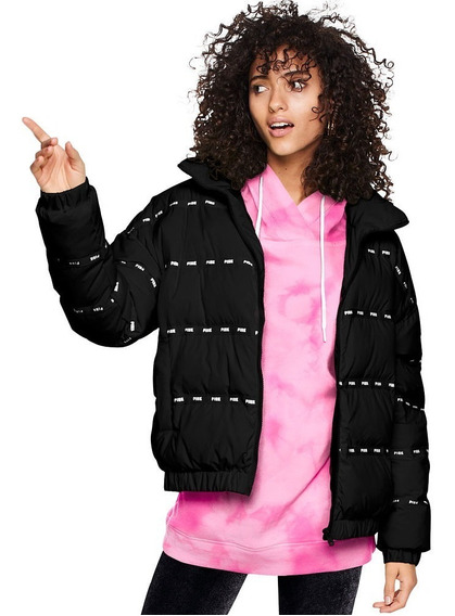 Campera Negra Inflable Pink Talle S Y M Victoria