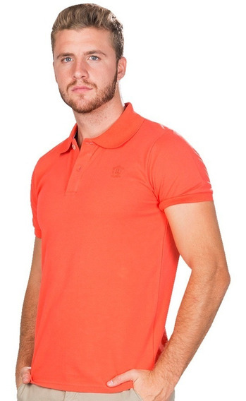 Playeras Polo Hombre Casual Moda Coral Naranja Lisa A90100