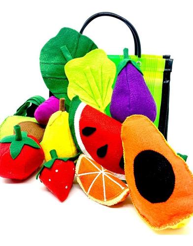 Imagem 1 de 8 de Comidinha Em Feltro Kit Pedagógico Frutas Legumes Na Sacola