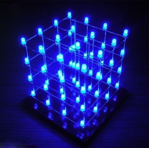 Kit Montagem Cubo De Led 4x4x4 Azul 3d Ultimas Peças
