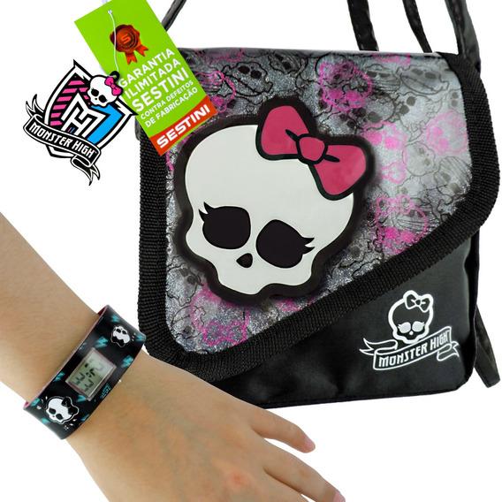 Kit Monster High Relógio De Pulso Digital + Bolsa Skullete