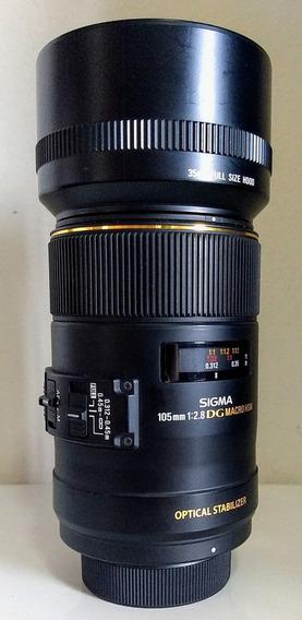 Lente Sigma 105mm F/2.8 Ex Dg Macro Os Hsm Novíssima P Nikon