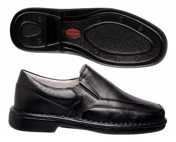 Sapato Ortopédico 100% Couro Preto Solado Borracha P.u. Gel