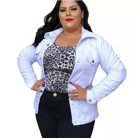 Jaqueta Jeans Plus Size Feminina Branca Com Botões Inverno