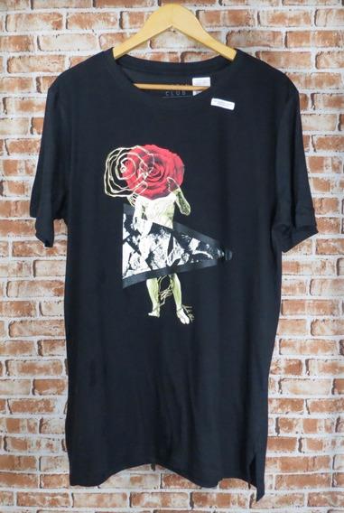 Camiseta Masculina Alongada E Estampa Like A Da Vinci