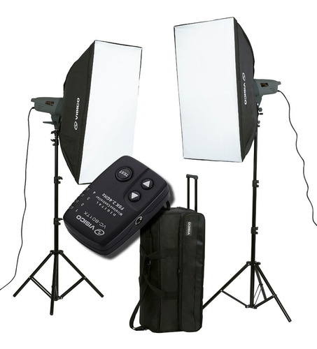 Imagen 1 de 8 de Kit 2 Flash Estudio 300w Visico Soft Box Bolso Emisor Vc801