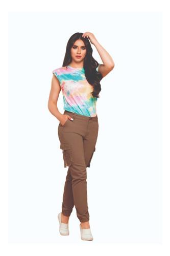 Imagen 1 de 2 de Pantalon Tipo Cargo Dama Cromo Jeans Bota Resortada