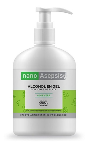 Imagen 1 de 9 de Alcohol En Gel Nano Asepsis Con Aloe Vera 500cc
