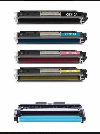 Kit 4 Toner Compatível Para Impressora Cp1025 + 1 Cilindro
