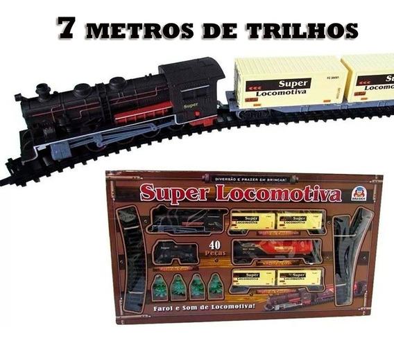 Ferrorama Super Locomotiva Com Luz E Som 7 Metros De Trilhos