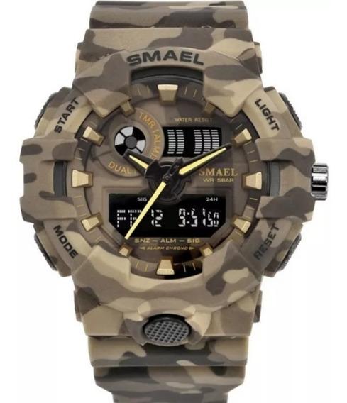 Relógio Militar Smael Camuflado A Prova D