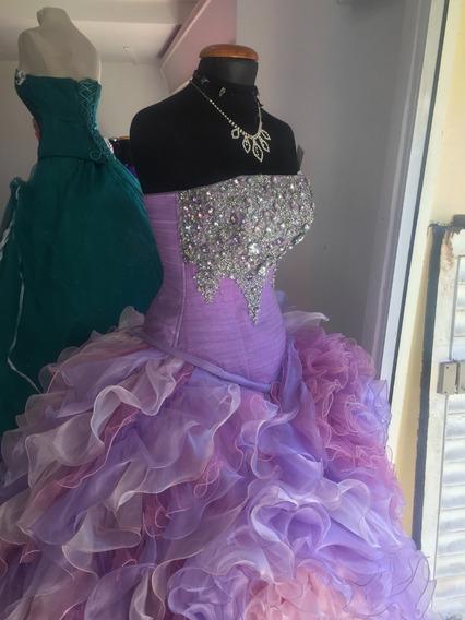 Vestido Xv Años Lila Rosa Pastel Con Cristales