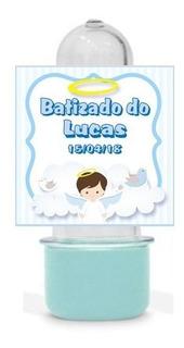 50 Mini Tubete Batizado Menino Lembrancinha Personalizada #