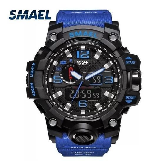 Relógio Smael Azul 1545 Militar Shock Original