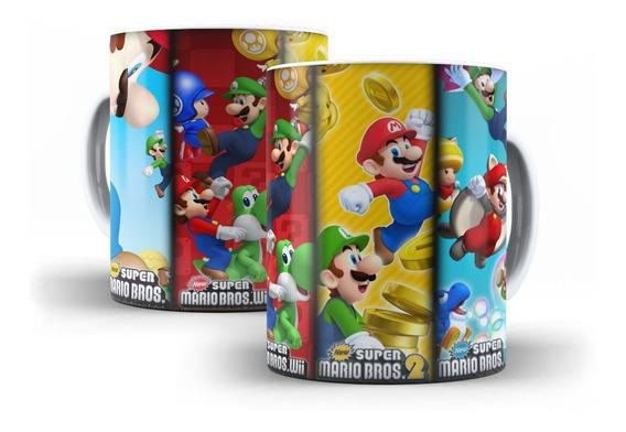 20 Caneca Super Mário Bros Fases Jogo Nintendo Oferta!!!